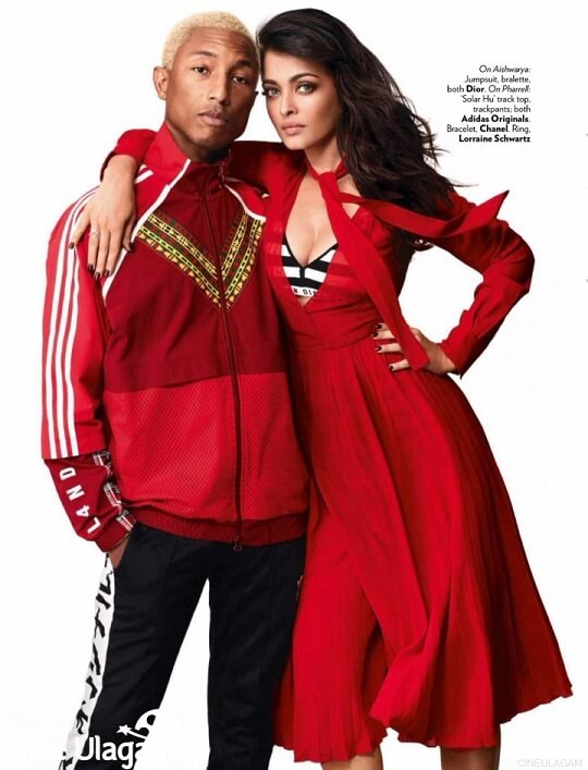 Aishwarya Rai and Pharrell Williams photoshoot_Vogue magazine_ red dress