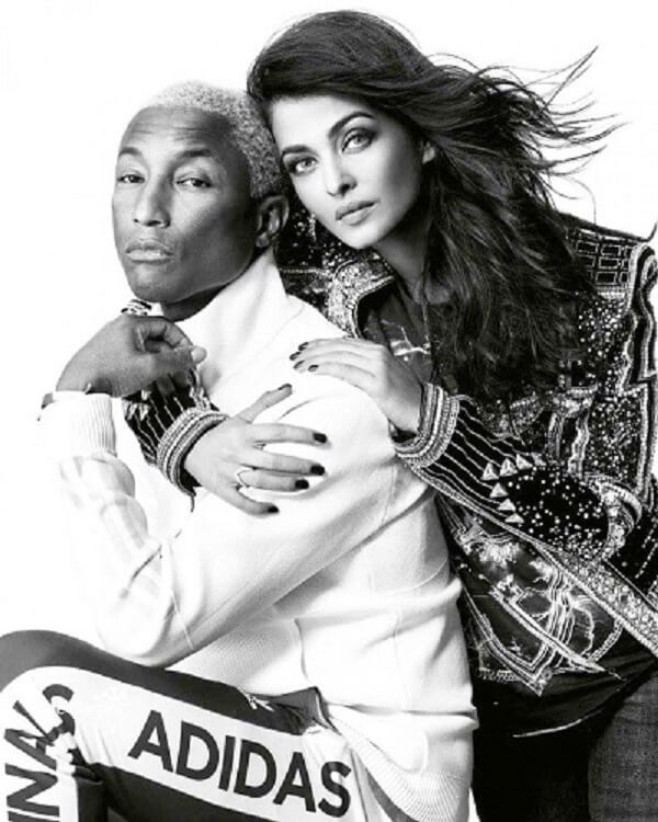 Aishwarya Rai and Pharrell Williams photoshoot_Vogue magazine black white
